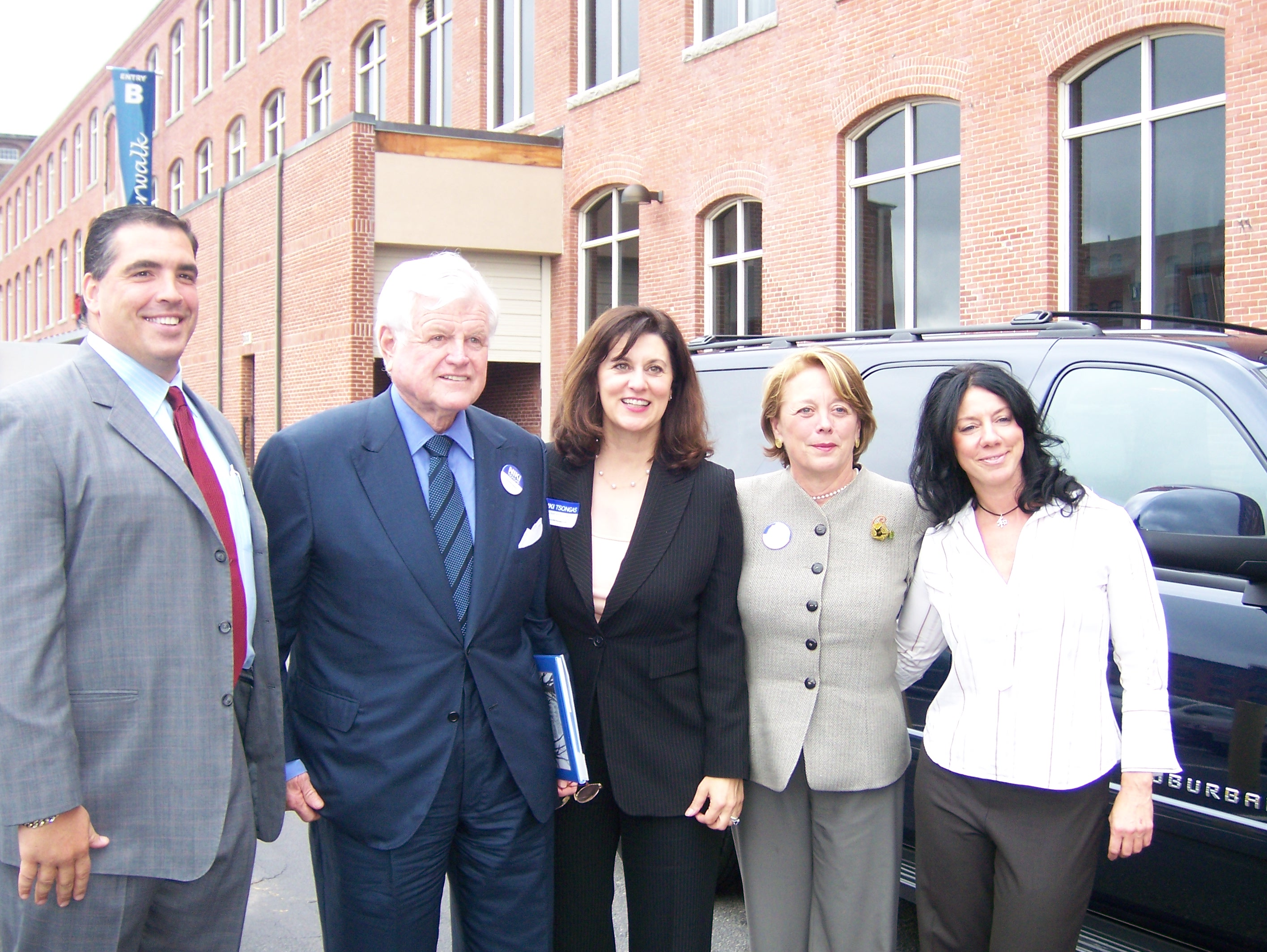 Sal Lupoli, Founder/CEO Lupoli Companies/Riverwalk Properties; Senator Ted Kennedy and his wife, Vicki Kennedy; and Congresswoman Niki Tsongas host a classroom visit and hold a press conference on the Child Health Bill.